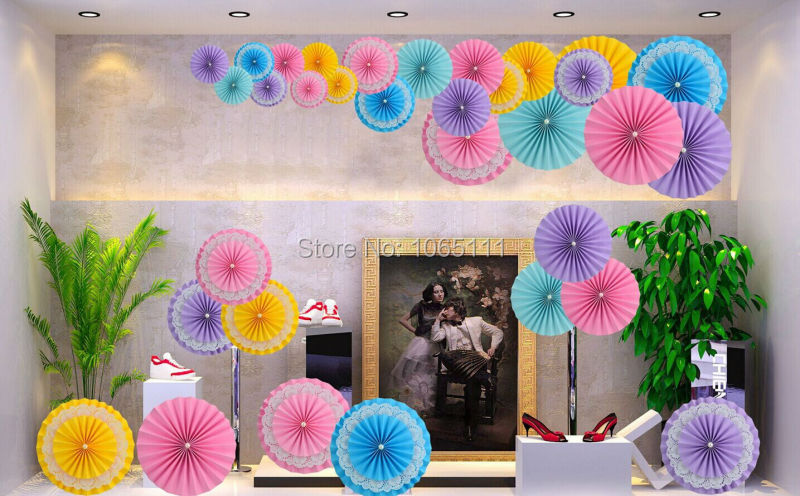 Free Ship 40pcs 10 25cm Paper Resotte Double Layer Childrens Birthday Party Decorations Tissue Flower Fans Decor Kit In