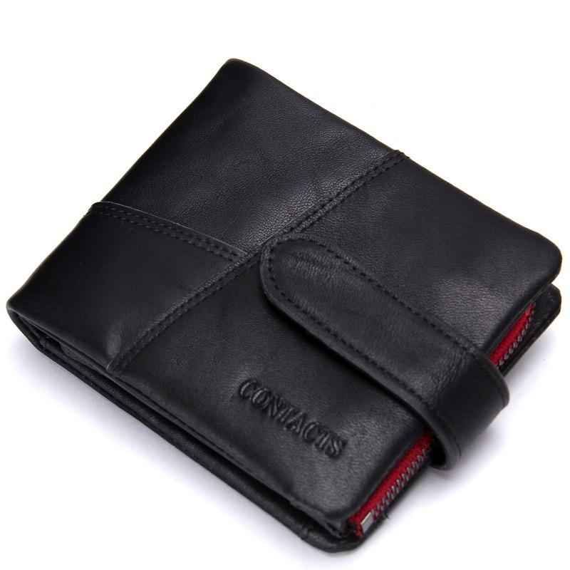 Men Wallets Genuine-Leather Purse Card-Holder Classical Zipper Man N1103-2