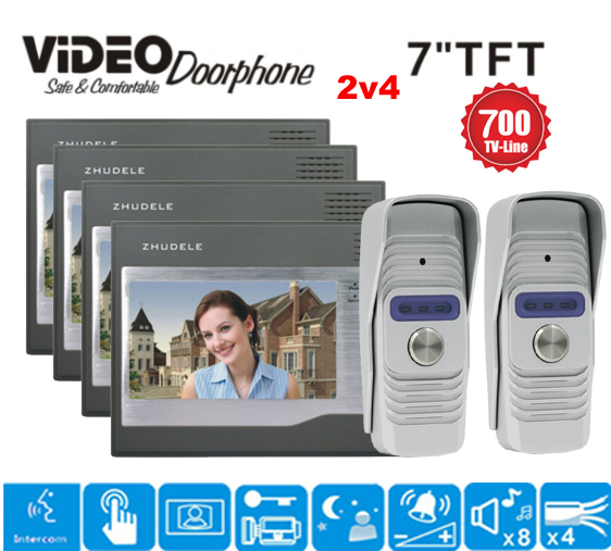 ZHUDELE Hot Selling Home Security 7 inch TFT LCD Monitor Video Door phone Intercom System With Night Vision Outdoor Camera 2v4