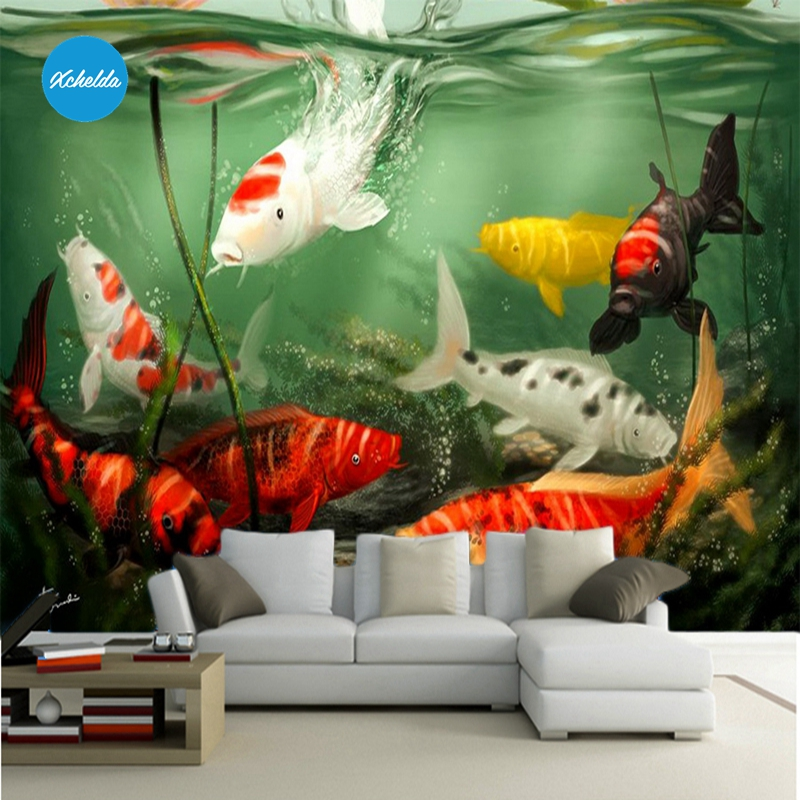 XCHELDA Custom 3D Wallpaper Design Koi Goldfish Photo Kitchen Bedroom Living Room Wall Murals Papel De Parede Para Quarto kalameng custom 3d wallpaper design street flower photo kitchen bedroom living room wall murals papel de parede para quarto