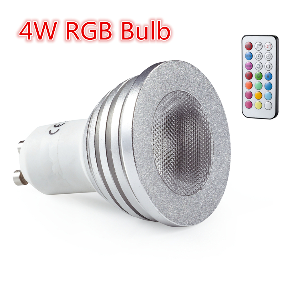 3W 4W RGB LED Spotlight GU10 E27 LED Globe Bulb Lamps 16 Colors Change 110-245v Home Par ...