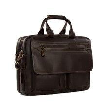 ROCKCOW 100% Real First Layer Cowhide Leather Men Briefcase Vintage Messenger Bag Travel Bag Portfolio Laptop Bag 8951