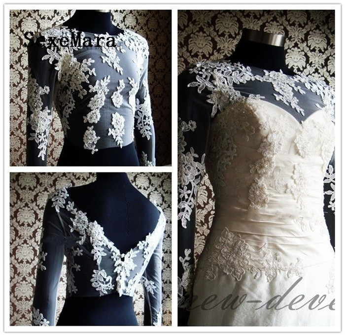 Boléro de mariée Vintage avec Appliques florales dentelle mariage Top veste manches longues haussement d'épaules mariée boléro veste pour mariage