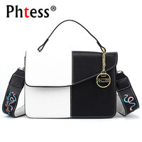 PHTESS Small Ladies Handbags Crossbody Panelled Bag Women Messenger Bags Small Female Shoulder Bag Leather Embroidery