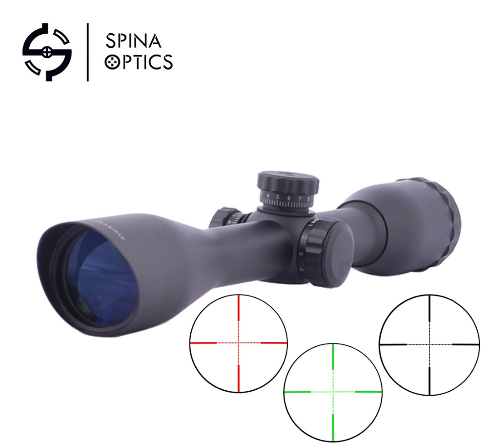 SPINA OPTICS Tactical 4x40 sniper riflescope red/green/blue illumination mil-dot sight hunting scopes compact m7 4x30 rifle scope red green mil dot reticle with side attached red laser sight tactical optics scopes riflescope
