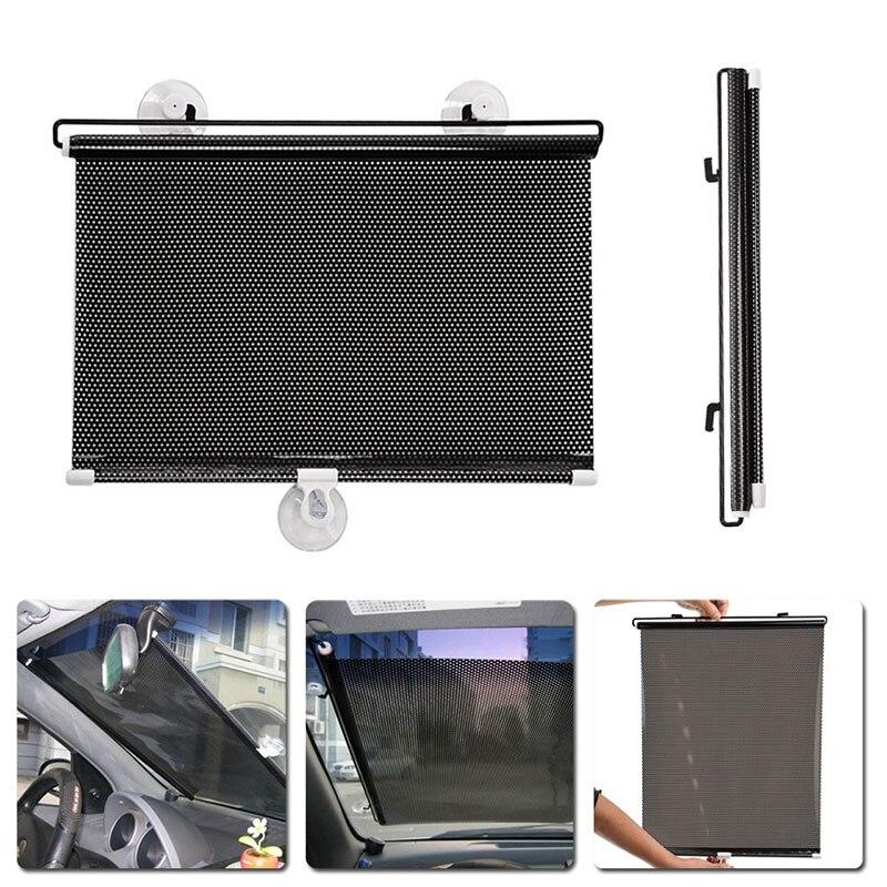 40x60CM VORCOOL 2 PCS Universal Retractable Car Vehicle Curtains Window Roller Sun Shades Blind Protectors Black