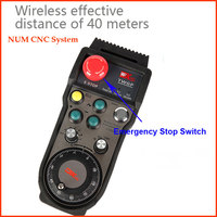 Handwheel Wireless 6Axis Remote Control MPG Hand Pulser Generator 100PPR with Emergency Stop Switch for NUM CNC System