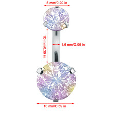Double Crystal Flower Belly Button Rings