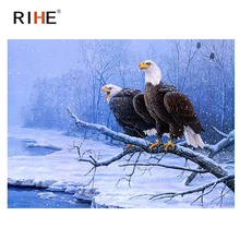 цена на RIHE Snow Eagle Diy Painting By Number Bird Oil Painting On Canvas Hand Painted Cuadros Decoracion Acrylic Animal Paint Home Art