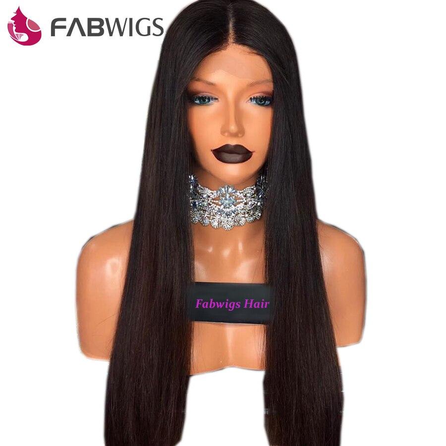 Fabwigs Pré Plumée Dentelle Pleine Perruques de Cheveux Humains avec Bébé Cheveux Brésiliens Remy Droite Perruques De Cheveux Humains Pour Les Femmes Naturel couleur