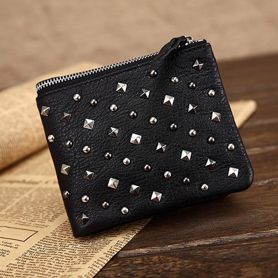 Original Designer Women's rivet wallet in genuine leather fashion studded cowhide leather purse for women freeshipping black