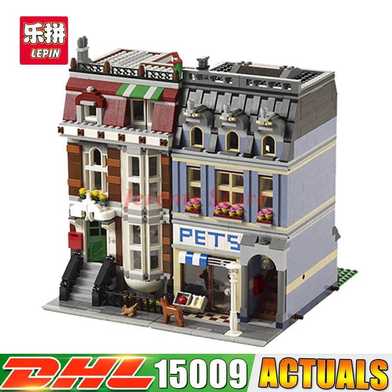 2017 DHL LEPIN 15009 2082PCS City Street Pet Shop Model Building Blocks Funny Educational Brick Toys Compatible 10218 lepin 15009 city street pet shop model building kid blocks bricks assembling toys compatible 10218 educational toy funny gift