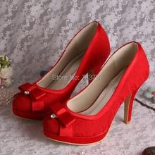 Drop Shipping 2016ฤดูใบไม้ร่วงแพลตฟอร์มสตรีปั๊มสีแดงลูกไม้รองเท้าแต่งงานกับโบว์หวาน