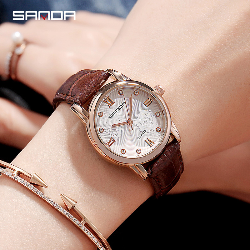 Flower Dial Design Women Watches Luxury Fashion Dress Quartz Watch SANDA Popular Brand Ladies Leather Wristwatch reloj mujer New цена