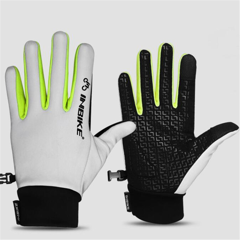 Outdoor Bike Reflective Cycling Gloves Full Finger Men Touched Screen Waterproof Anti Slip Fluorescent Bicycle Neon Glove G084
