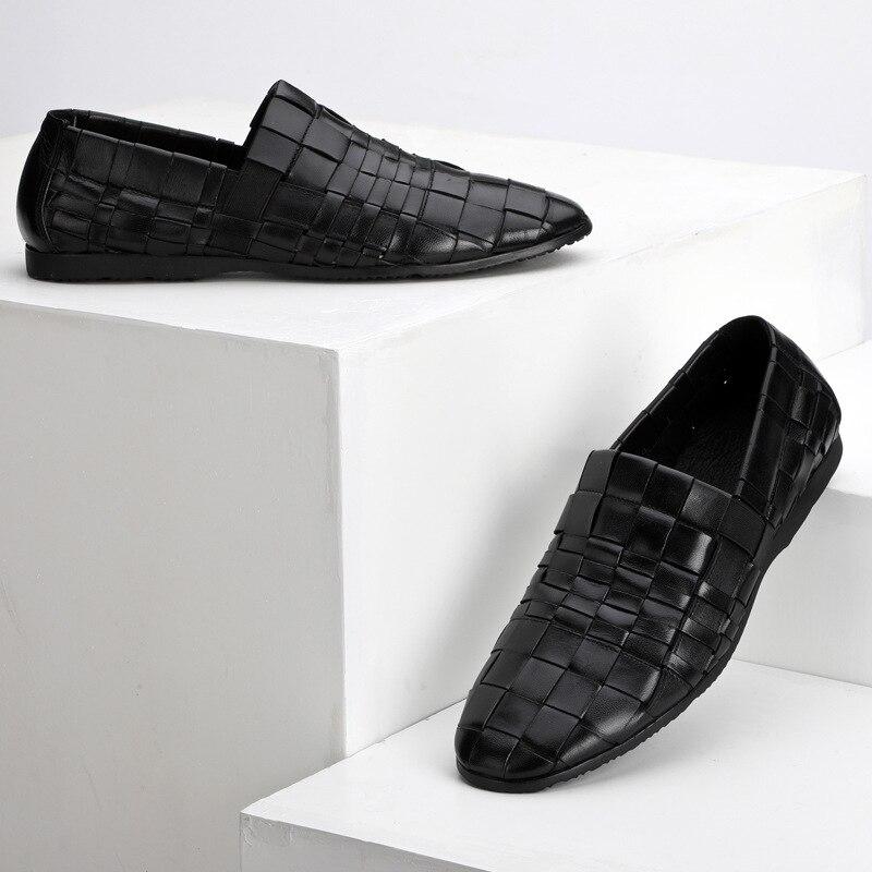Nouveau hommes tendance chaussures 100% tricoté à la main en cuir véritable chaussures angleterre en cuir hommes respirant affaires chaussures décontractées hommes - 3