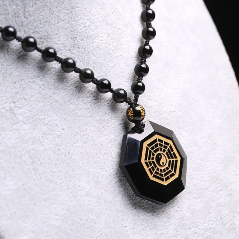 Drop Shipping Natural Black Obsidian Taiji Gossip Pendant Gold-plated Jewelry Charm Pendant Lucky Jewelry Pendant Gift