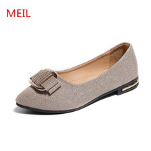 цена на MEIL Shoes Woman Flats 2018 spring Autumn Fashion Sequined Cloth flat shoes Women Comfortable Pointed Toe loafers Ladies Shoes