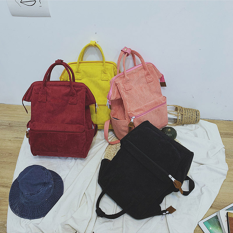 Corduroy Backpacks For Women 2019 Fashion Winter Casual Style Ladies Solid Color Back Pack Female Teens Girls School Backpack