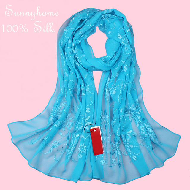 Muslim hijab Wire silk scarf women quality exquisite embroidered female scarfs multi-purpose long design silk pashmina headband