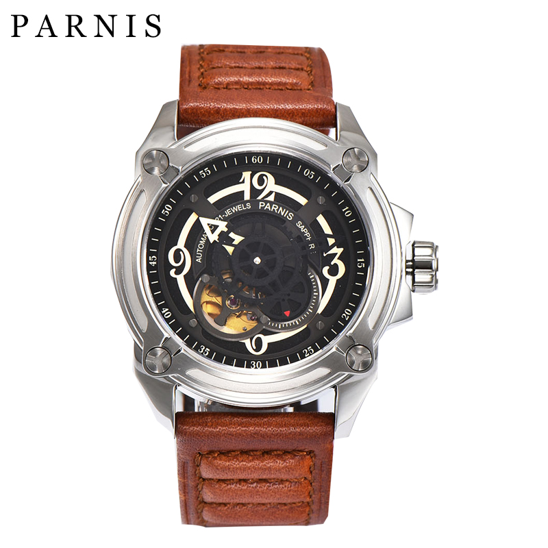 Hot Selling 44mm Parnis Watch Skeleton Men's Automatic Watch Mechanical Wristwatch Black Dial Sapphire Crystal relogio masculino hot selling womens ss watch with tongston middle bead sapphire crystal ss buckle freeshipping ls3506s