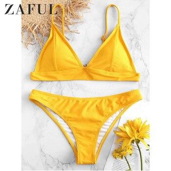 debe1baad0e0 ZAFUL 2019 nuevo conjunto de Bikini sólido de verano para mujer push-up  sujetador sin relleno traje de baño triángulo bañador traje de baño ...