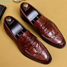 QYFCIOUFU Men Shoes Formal Genuine Leather Business Casual Shoes Men Dress Office Luxury Shoes Male Breathable Oxfords US 11.5