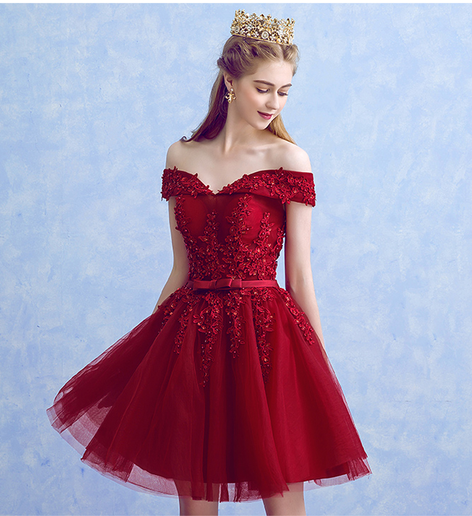 LAMYA Sexy Red Lace Elegant Knee Length Prom Dresses 2018 New Arrived Women Beading A Line Evening Party Dress With Bow 13