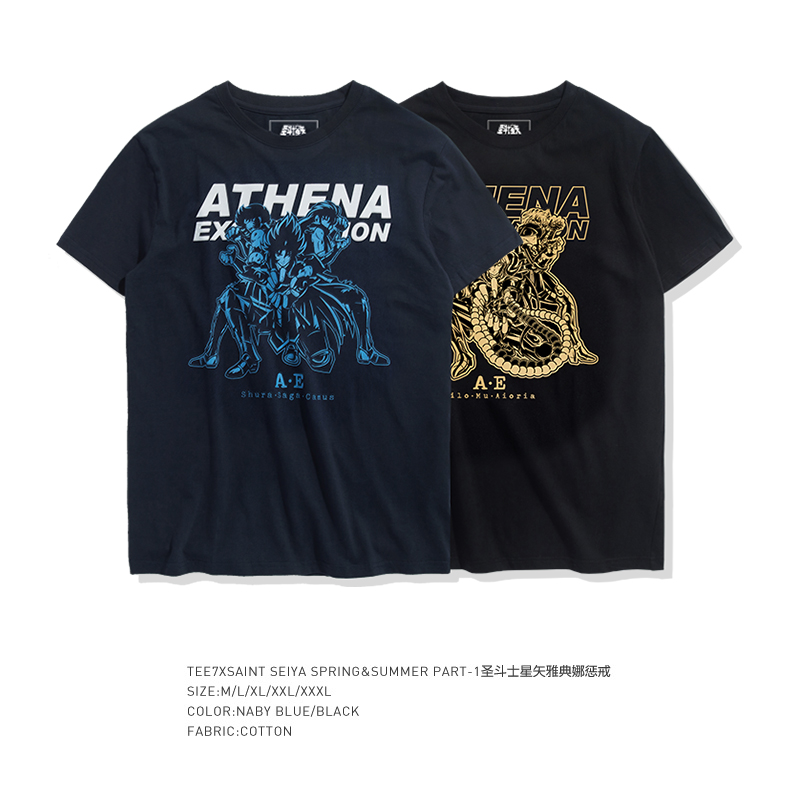 TEE7 Men Casual Short Sleeve T-shirts Japan Anime Saint Seiya Cotton Blue Printed Male Male O-Neck Top Cheap Slim Fit Blouse