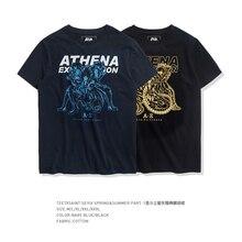 TEE7 Erkekler Rahat Kısa Kollu t Shirt Japonya Anime Aziz Seiya Pamuk Mavi Baskılı Erkek Erkek o yaka üst Ucuz Slim Fit Bluz