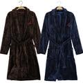 Frete grátis 2015 New Terry roupão homens flanela roupão de banho de inverno outono Casual azul marinha chinesa vestir vestido longo roupões