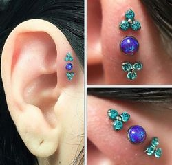 3pcs/set New arrival stainless steel opal zircon body piercing jewelry tragus conch daith cartilage ear piercing helix piercing