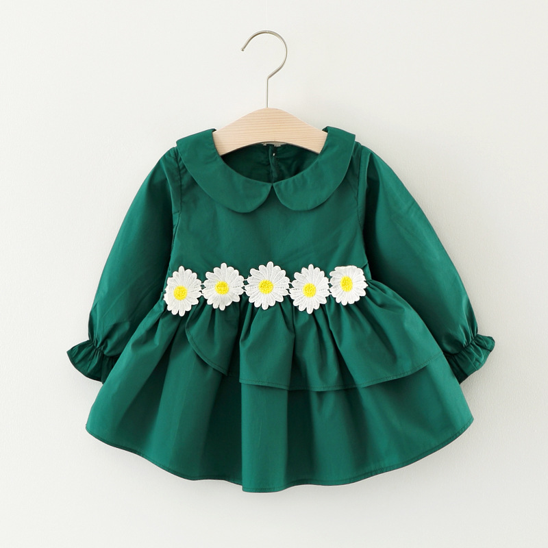 Baby Girls Autumn Dresses with Long Sleeve 2017 New Childrens Daisy Flower Peter Pan Dress Toddler Girls Clothing Kids Clothes