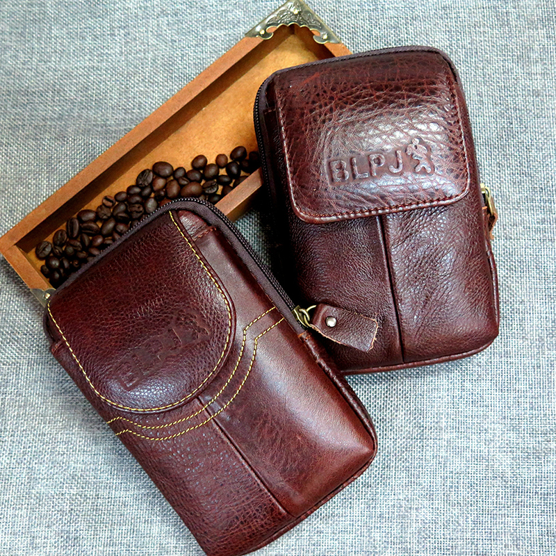 BISI GORO Fashion Multi-function Phone Coin Card Men Small Waist Bag Cow Leather Wearresistant Purse Porta Tarjetas Outdoor Pack