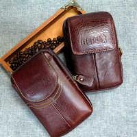 BISI GORO moda multifunción teléfono moneda tarjeta hombres cintura pequeña bolsa de cuero de vaca resistente al desgaste bolso porta tarjetas al aire libre paquete