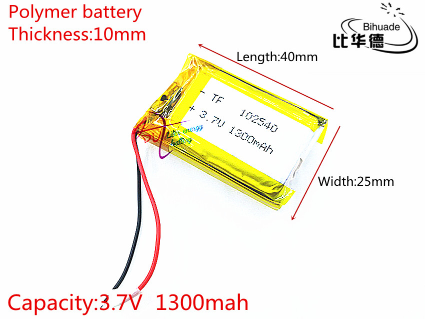 3.7 V 1300 mAh 102540 Lithium Polymère Li-Po li ion Rechargeable Batterie cellules Pour Mp3 MP4 MP5 GPS PSP mobile bluetooth