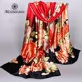 New fashion ladies' satin scarves 2017 charm Shanghai high-grade Red peony flower digital print female silk scarf wholesale gift