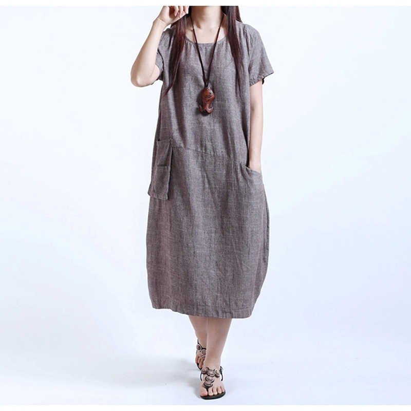 Summer 6XL Chinese Style Women's Dress flax Female Oversize Dress Plus Size Long Linen Shirt With Pockets For Pregnant Women