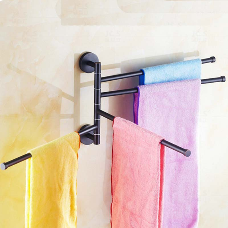 Wall Mounted Oil Rubbed Bronze Solid Brass Towel Rack Holder Swivel 4 Towel Bars oil rubbed bronze square toilet paper holder wall mounted paper basket holder