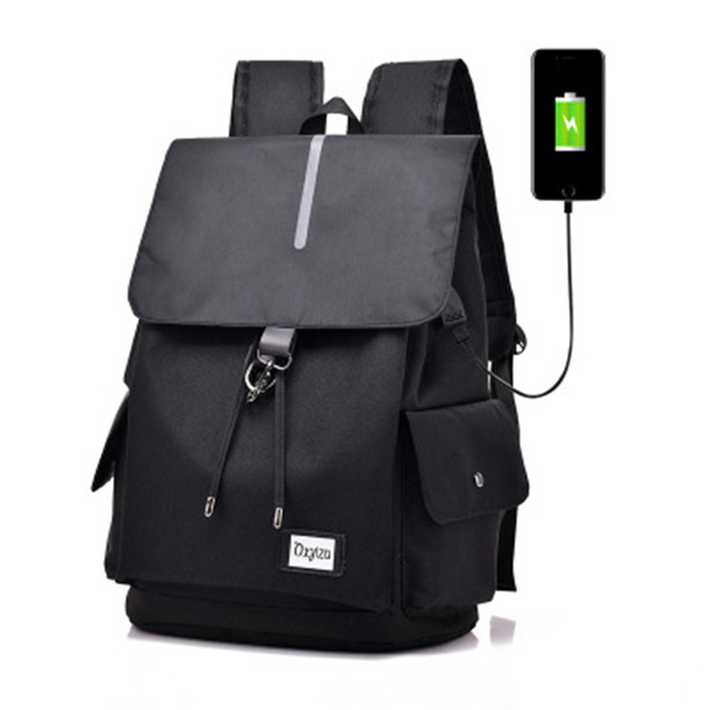 Unisex Canvas Large Capacity School Bag Fashionable Travel Backpack with USB External for Students Girls Boys