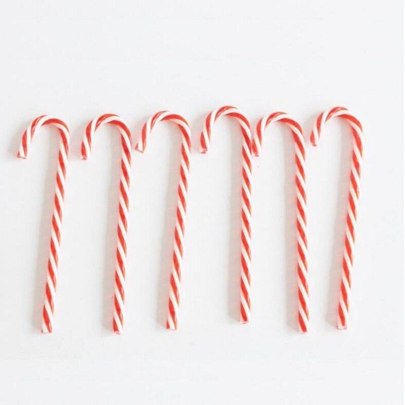 6 шт. Пластик конфеты Украшения красный, белый костыль Рождество елка висячие украшения для дома для рождественской вечеринки Подарки для д…
