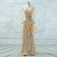 V Neck Merimaid Evening Dresses Long Party Dresses Beaded Actual Images Long Dresses