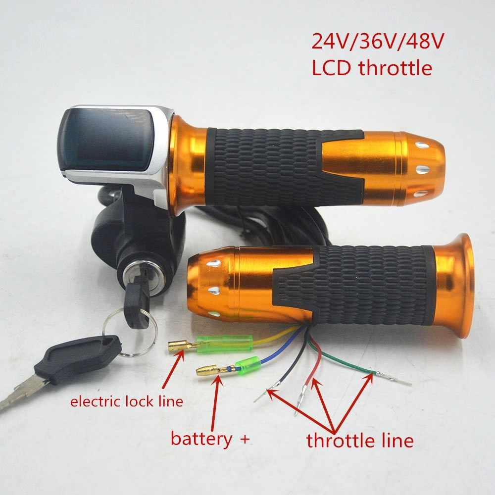 24V 36V 48V ebike throttle accelerator with LCD display/ON-OFF Key Lock for ebicycle/scooter/electric bicycle accessories