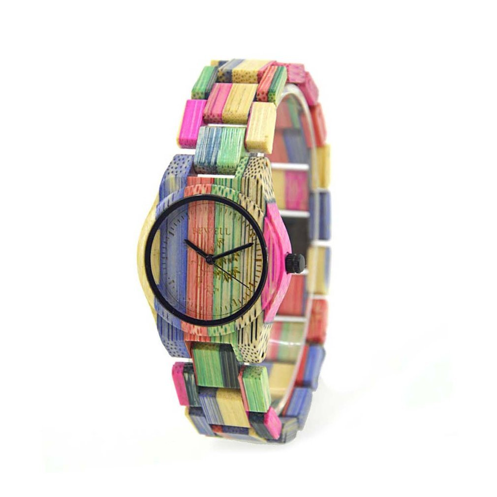 Colorful Bamboo Case Watch Luxury Brand Wooden Women Quartz Fashion Wood Clock Female Watch With Bamboo Band HOT SALE