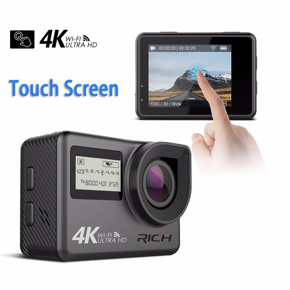 DHL 5pcs RICH T350 ultra FHD 4K Action Camera WiFi 1080P 60fps 2.0 LCD 170D Full HD 30M Waterproof Video Action DV Sports Camera wimius 20m wifi action camera 4k sport helmet cam full hd 1080p 60fps go waterproof 30m pro gyro stabilization av out fpv camera