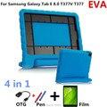 Высокое Падение Ударопрочный Смарт Обложка Дети Дети Безопасный EVA Кремния для Samsung Galaxy Tab E 8.0 T377V T377Tablet PC + ручка + OTG + Film