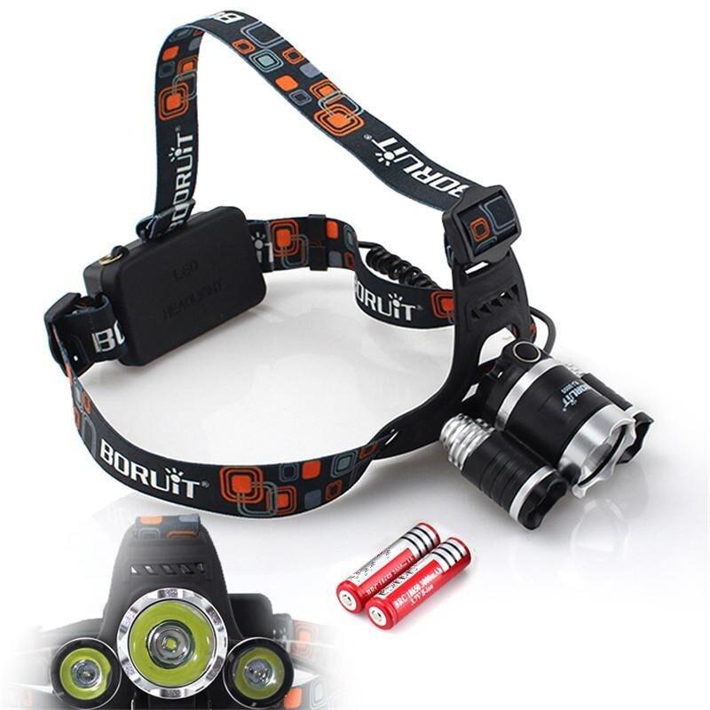 OEM Boruit 5000LM 3x XM-L T6 LED Headlamp HeadLight +Battery+AC/Car Charger