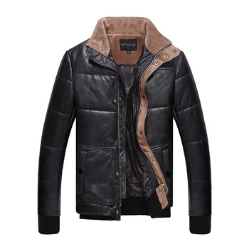 YOLANFAIRY Geniune Leather Jacket Men Sheepskin Leather Winter Down Coats