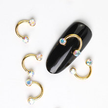 10 Pieces New Color Glitter, 3D Metal Alloy Nail Art Smile Decoration / Charms Studs, Jewelry