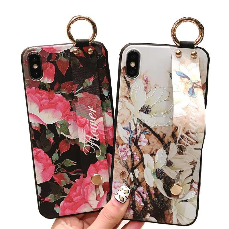 Fashion Flower Phone Case For Huawei Mate 20 Pro Silicone Soft Wristband Back Cover On Huawei Mate 10 P20 Lite P20 Pro Case Capa